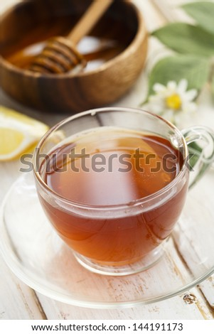 Herbal tea with lemon and honey