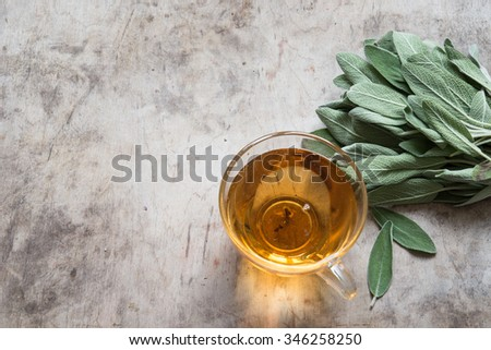 Herbal tea with sage - stock photo