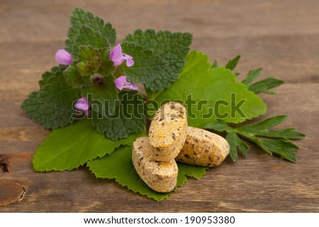 Herbal vitamin and supplement pills with herbs on wooden background - stock photo