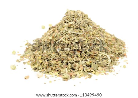 Herbes de Provence (Mixture of Dried Herbs) Isolated on White Background - stock photo