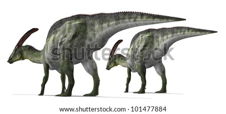 Herbivorous dinosaur herding together - stock photo