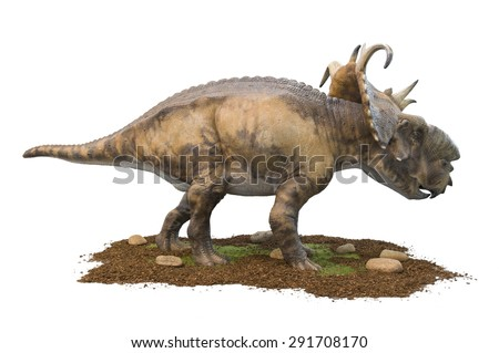 Herbivorous dinosaur (Pachyrhinosaurus Lakustai) isolated on white. Lifesize model of a dinosaur that grew 6 metres long and weighed 2 tons. - stock photo