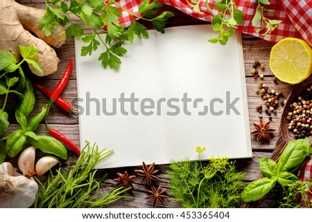 herbs and spice on wooden table,Copy space for your text. - stock photo