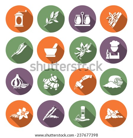 Herbs and spices flat icons set of chef cook culinary ingredients isolated  illustration - stock photo