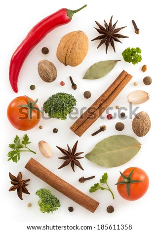 herbs and spices isolated on white background - stock photo