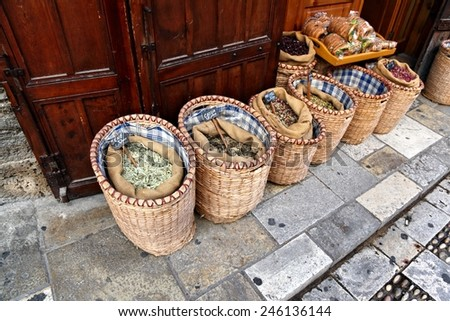 Herbs and Spices on sale in the old Souk, Byblos - stock photo