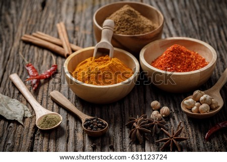 Herbs and spices on the wooden table