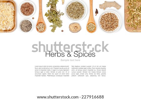 herbs and spices on white background