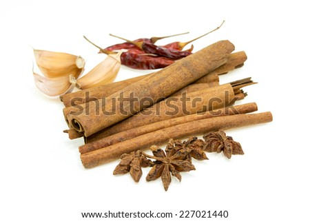 Herbs and Spices over white background