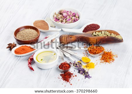 Herbs and spices over white wood background