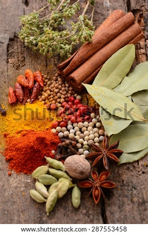 Herbs and spices selection, on wooden table background  - stock photo