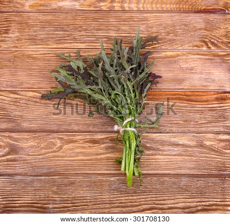 herbs hanging over wooden background - stock photo