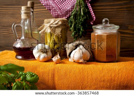 herbs in the old kitchen-spices-organic food - stock photo