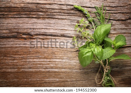 herbs on wooden table,Closeup. - stock photo