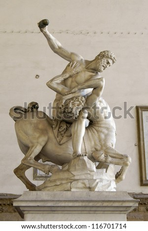 Hercules and the Centaur Sculpture in Florence - stock photo