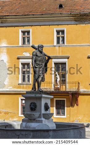 Hercules statue in romanian spa town Baile Herculane - stock photo