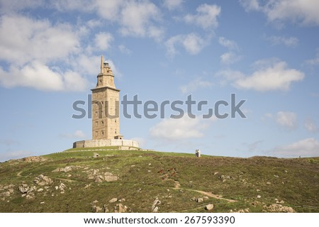 Hercules tower detail in La Coruna, Spain.The Tower of Hercules is a Unesco heritage lighthouse - stock photo