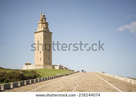 Hercules tower (lighthouse), La Coruna, Galicia, Spain, UNESCO - stock photo