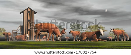 Herd of hereford cows next to the farm by beautiful night with full moon - stock photo