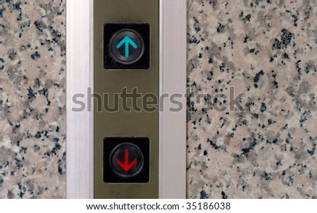 Here are elevator button of up and down signs. - stock photo