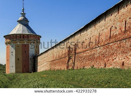 Here is the South Tower fortifications and ancient monastery walls built in the 16th century in Spaso-Prilutsky Dimitriev Monastery May 29, 2013 in Vologda, Russia.