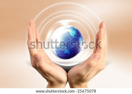 Here you can see  nice blue globe - stock photo