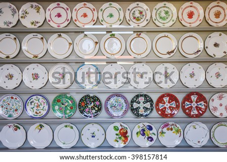 Herend, HUNGARY, - March 27. 2016: Herend Porcelain Manufacture, specializing in luxury hand painted and gilded porcelain. Founded in 1826, based in the town of Herend near Budapest, Hungary. - stock photo