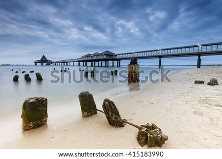 Heringsdorf pier on the baltic sea, island of usedom, germany