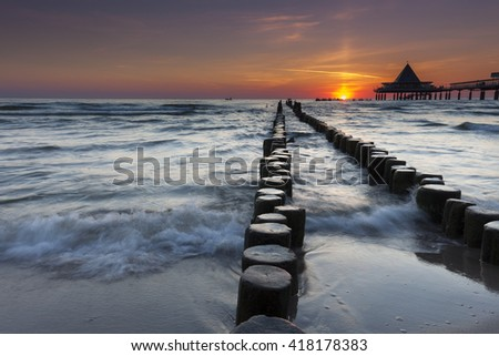 Heringsdorf Pier stretching out into the Baltic Sea, on the island of Usedom; in Germany