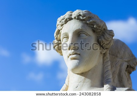 Herm scultpure from the panathenaic stadium in Athens(hosted the first modern Olympic Games in 1896)  - stock photo