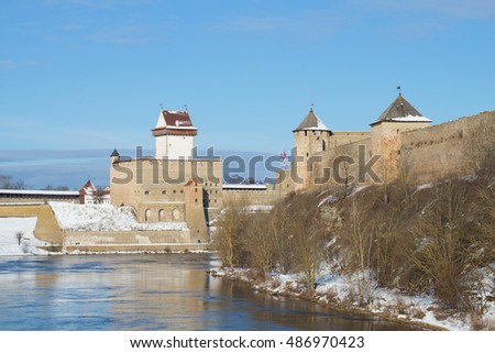 Herman's Castle and Ivangorod Fortress sunny March day. The border between Estonia and Russia