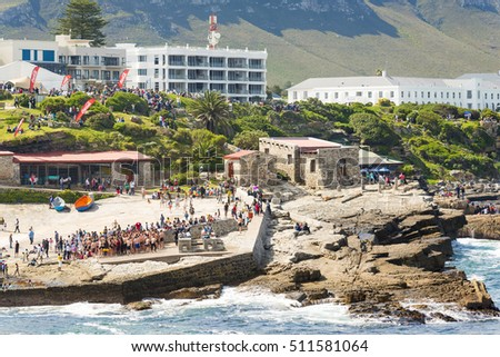 HERMANUS, SOUTH AFRICA - 4 OCTOBER 2015: Crowds gather for Hermanus Whale Festival. Hermanus celebrates 25 years of whale watching festivals in 2016.