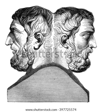 Hermes of Epicurus and Metrodorus, vintage engraved illustration. Magasin Pittoresque 1847. - stock photo