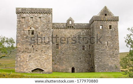 Hermitage Castle, an ancient Scottish castle in the Border - stock photo