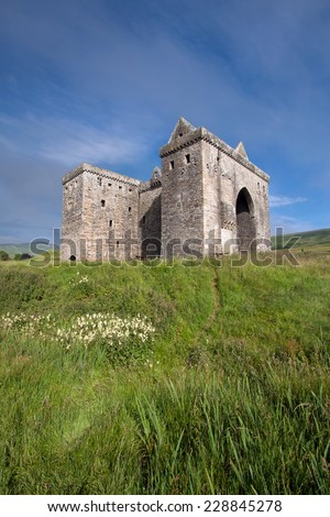 Hermitage Castle, Liddesdale Valley, County Roxburghshire, in the Scottish Borders is a ruined stronghold built by the Douglas family around 1360 and with historic connections to Mary Queen of Scots.