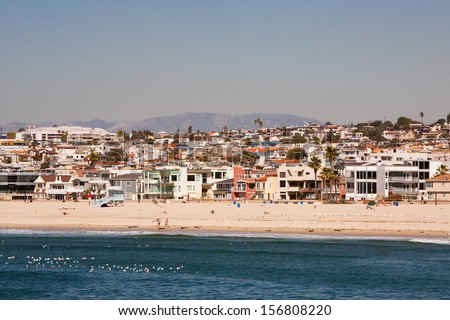 Hermosa Beach on a warm sunny day in Los Angeles, California, USA - stock photo