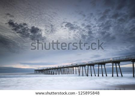 Hermosa Beach Pier Sunset - stock photo