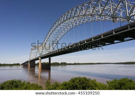 Hernando de Soto Bridge Spanning Mississippi River Arkansas Tennessee - stock photo