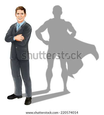 Hero businessman concept, illustration of a confident handsome business man standing with his arms folded with superhero shadow - stock photo