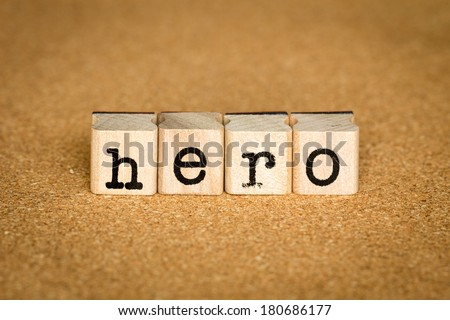 Hero Concept, Alphabet stamp on a cork board