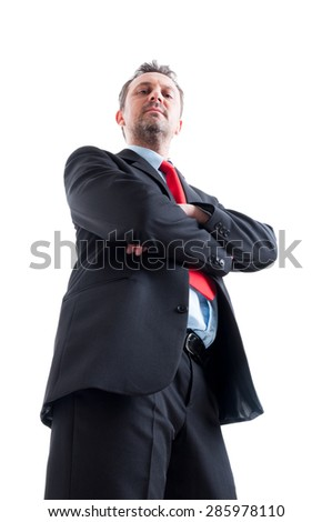Hero shot in low angle of confident business manager - stock photo