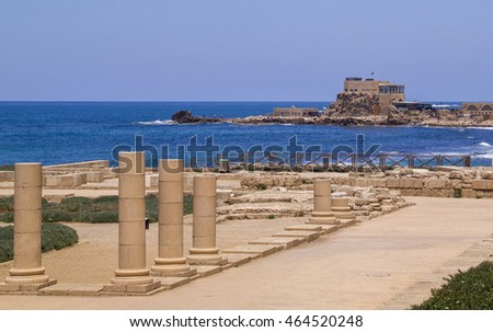 Herods Port And Palace ruins in Caesarea Maritima- called Caesarea Palaestina fa city and harbor built by Herod the Great about 25-??13 BC. Today, its ruins lie on the Mediterranean coast of Israel