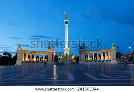 Heroes' Square in Budapest at night, Hungary - stock photo