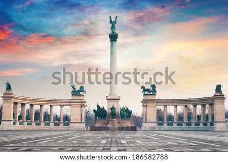 Heroes Square in Budapest, Hungary. - stock photo