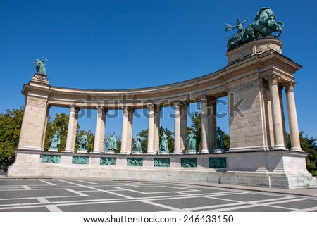Heroes square in Budapest Hungary - stock photo