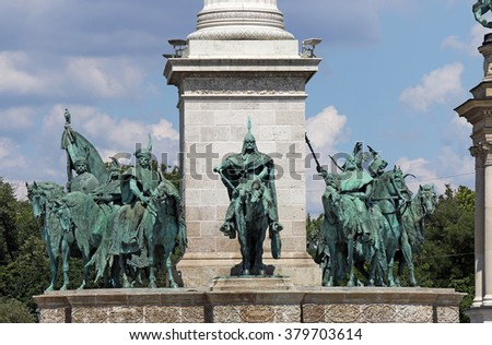 Heroes' square monument Budapest Hungary - stock photo