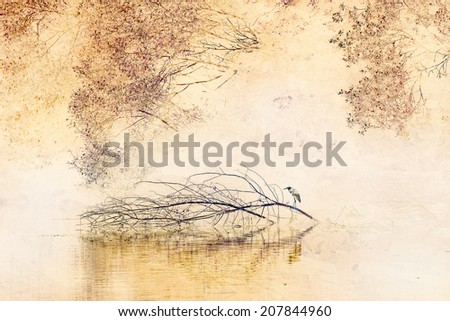 Heron on a tree in sepia color - stock photo