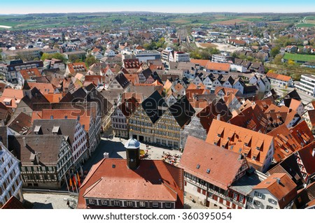 HERRENBERG, GERMANY - APRIL 19, 2015: Panoramic view. Red roofs of old city. Baden-Wurttemberg.