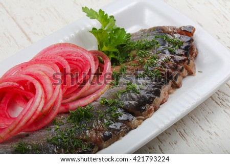 Herring fillet with pickled red onion and dill - stock photo