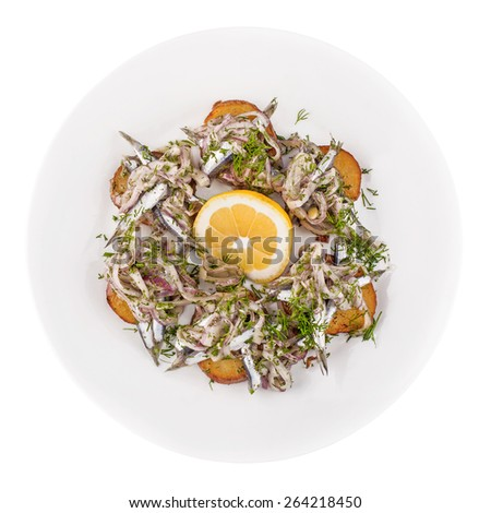 herring on a white isolated background - stock photo